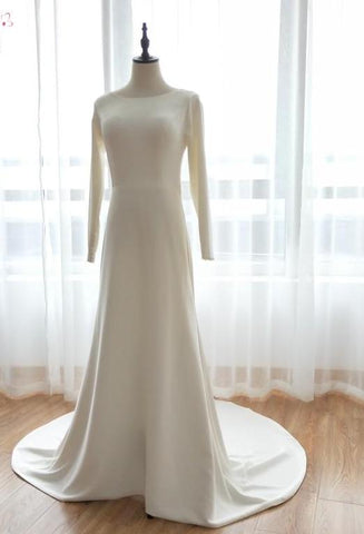 Soft Satin Simple Elegance Wedding Gown with Flowy Train (US Sizes 2-20W)
