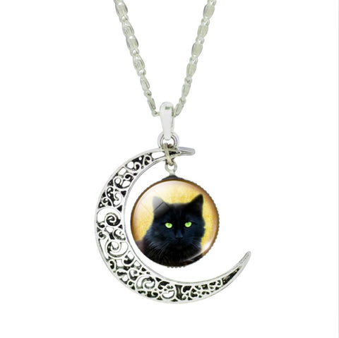 Crescent Moon Black Cat Necklaces - PB and Apple Jelly