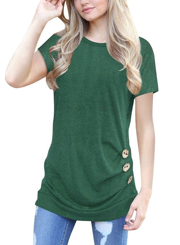 Loose Comfy Tunics with Button Detailing (US Sizes XS-XL)