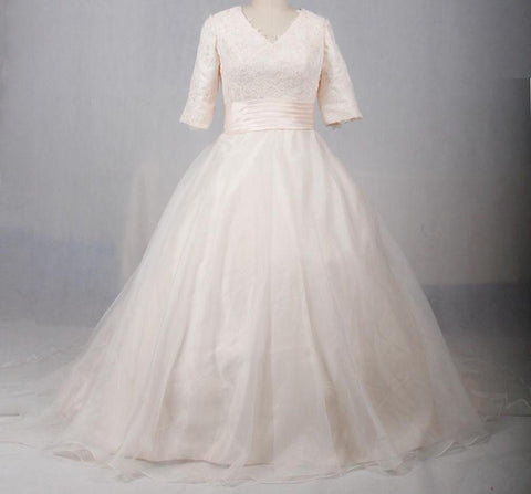 V-Neck Lace Satin Organza Wedding Gown (US Sizes 2-24W)