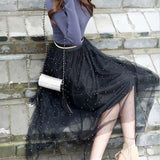 Beaded Black Tulle Skirt (Stretches to 35.4 Inches) - PB and Apple Jelly