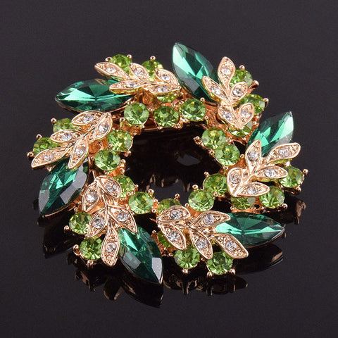 Exquisite Crystal Wreath Brooches - PB and Apple Jelly