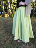 Soft Flowy Linen Maxi Skirts (Waist Stretches to 37.4 Inches) - PB and Apple Jelly