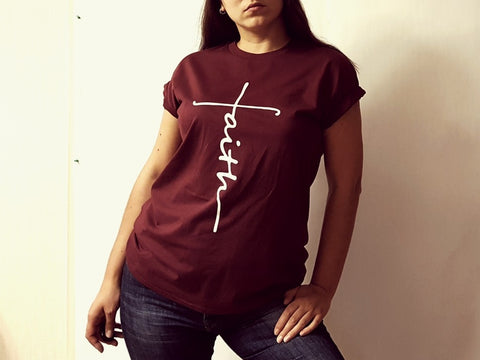 Image of Lovely Faith/Jesus Cross T-Shirts (US Sizes XS-XXL)