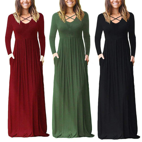 Soft Solid Criss Cross Maxi Dresses with Pockets (US Sizes 4-20)