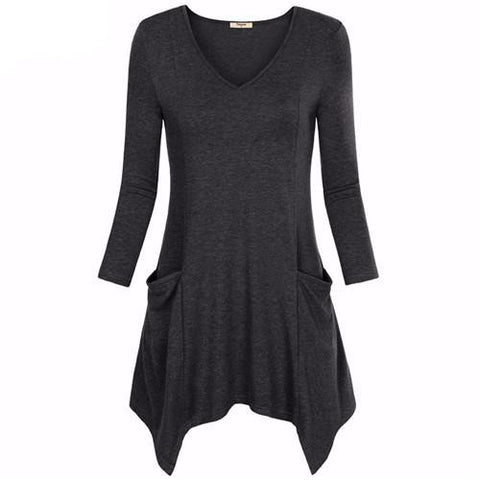 V-Neck Asymmetrical Tunic with Pockets (US Sizes M-2XL) - PB and Apple Jelly