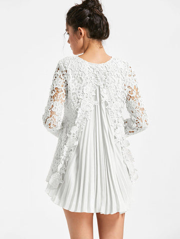Lace Bodice Split Back Pleated Flowy Tunic (US Sizes 6-12) - PB and Apple Jelly