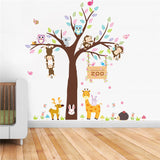Adorable Zoo Animals in Tree Wall Stickers - PB and Apple Jelly