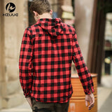 Plaid Button-Down Hoodies (Sizes up to 175 pounds) - PB and Apple Jelly