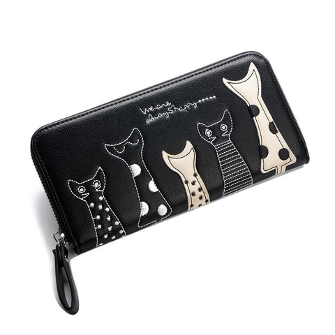 Cute Cat Long-Style PU Leather Wallets - PB and Apple Jelly