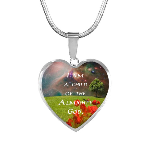 """I Am a Child"" Luxury Necklace and Heart Pendant - Colorful - PB and Apple Jelly"