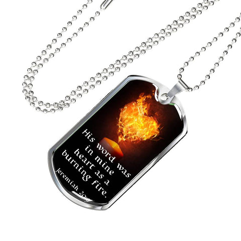 """His Word Was in Mine Heart"" Luxury Military Necklace - PB and Apple Jelly"