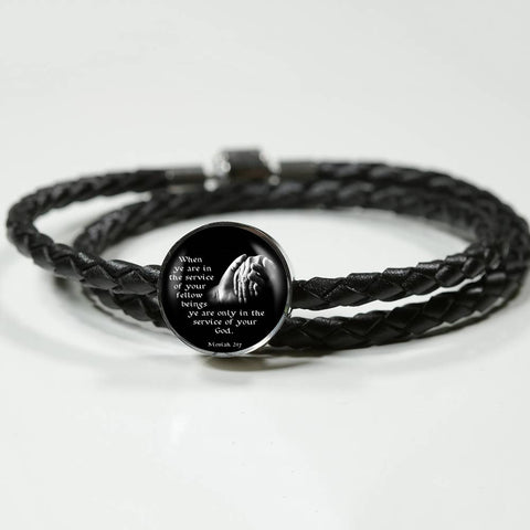 "Image of ""When Ye Are In the Service"" Real Leather Woven Bracelet and Charm - PB and Apple Jelly"