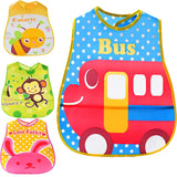 Cartoon Waterproof Bibs with Pocket