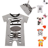 Animal Summer Rompers with Hats (US Sizes 6-24 Months) - PB and Apple Jelly