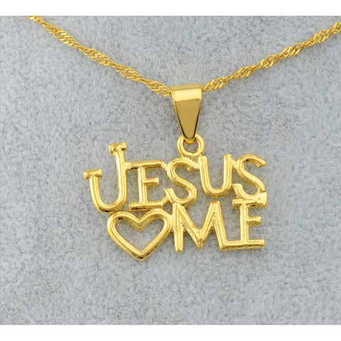 'Jesus Loves Me' 18 Carat Gold-Plated Pendant and Necklace - PB and Apple Jelly