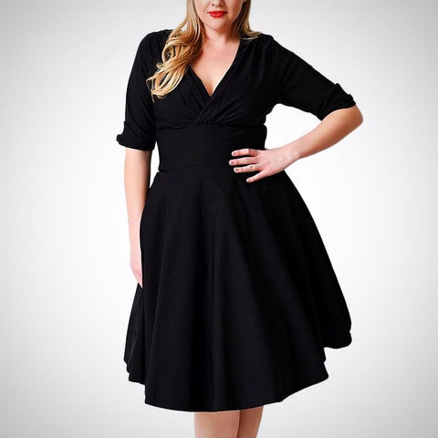 Half Sleeve V-neck A-Line Dress (US Sizes 14-26) - PB and Apple Jelly