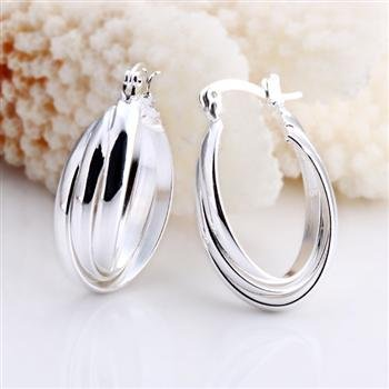 Sterling Silver 3-Layer Hoop Earrings