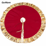 Red Christmas Tree Skirt with Golden Ruffle - PB and Apple Jelly