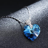 Blue Crystal Heart Pendant Necklace - PB and Apple Jelly