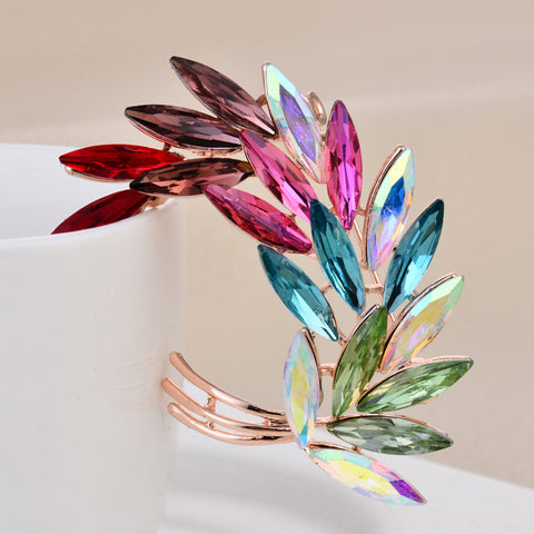 Colorful Crystal Leaf Brooch - PB and Apple Jelly