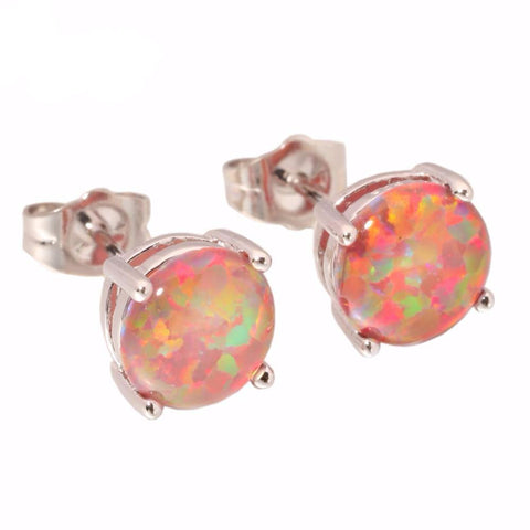 Orange Fire Opal Stud Earrings - PB and Apple Jelly