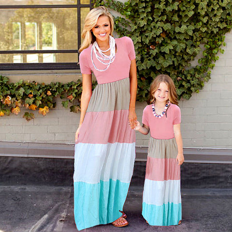 Six Styles Mommy and Me Color Block Maxi Dresses (US Sizes 18M-10/XS-2XL) - PB and Apple Jelly