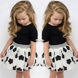 Black and White Floral Skirt Outfit (US Sizes 2T-6) - PB and Apple Jelly