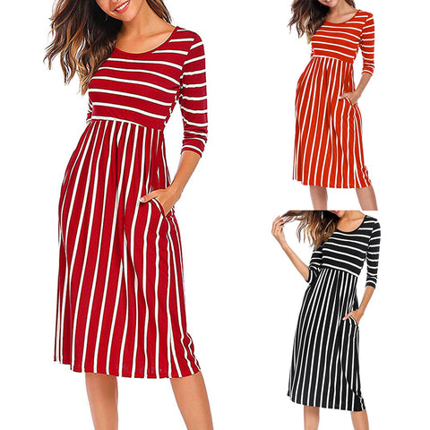 Cute Striped Midi Dress with Pockets (US Sizes 4-16)