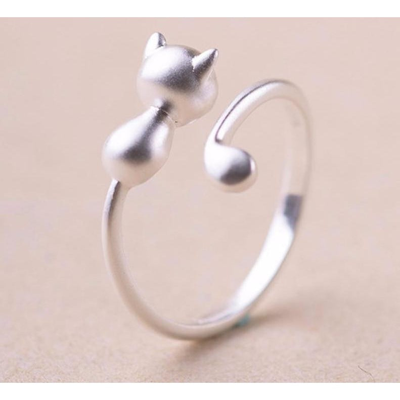 fish silver love adjustable rings cat couple bone
