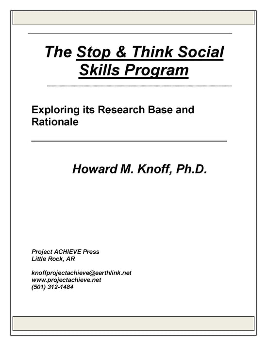 the stop think social skills program home and school project