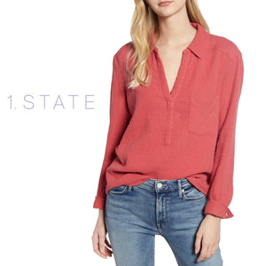 1. State Long Sleeve Gauze Coral Blouse  . Size XS