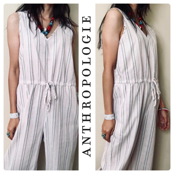 Anthropologie Drew Pink Taupe Cotton Jumpsuit . Size S
