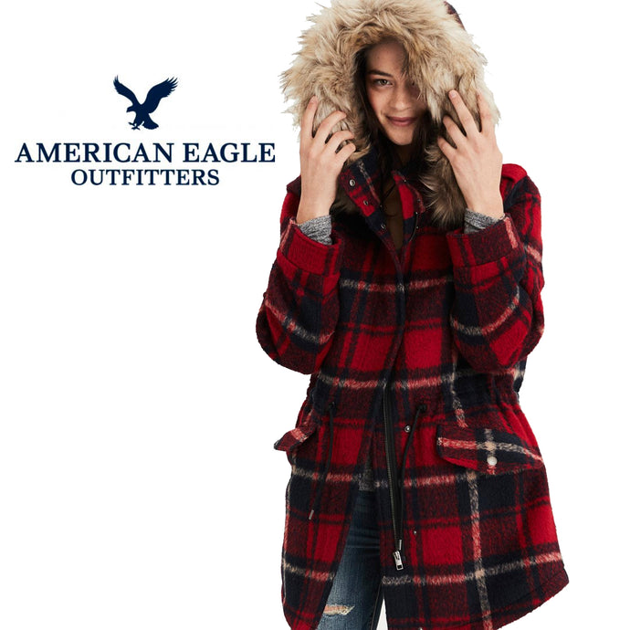 American Eagle Red Plaid Wool Blend Parka Size Small