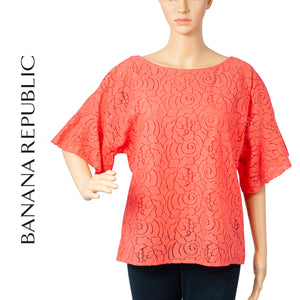 Banana Republic Lacy Flutter Sleeve Coral Blouse . Size S