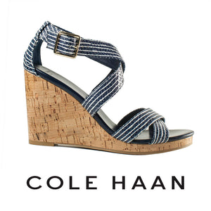 Cole Haan Blue and White Jillian Wedges . Size 8