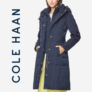 Cole Haan Signature 40-inch Taffeta Navy Down Coat . Size XS