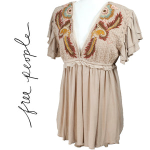 Free People Fiesta Sand Color Boho Tunic Size Small