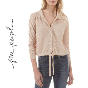 Free People Sand Color Tie-Front Blouse Sweater Size XS