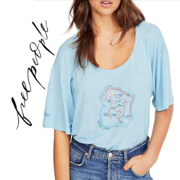 Free People Sky Blue Oversized T-shirt  . Size S