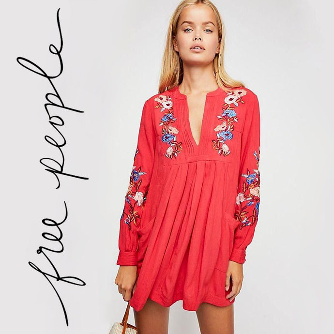 Free People Embroidered Red Combo Dress Size XS