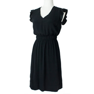 Kate Spade Black Flutter Sleeve Crepe Dress . Size 0