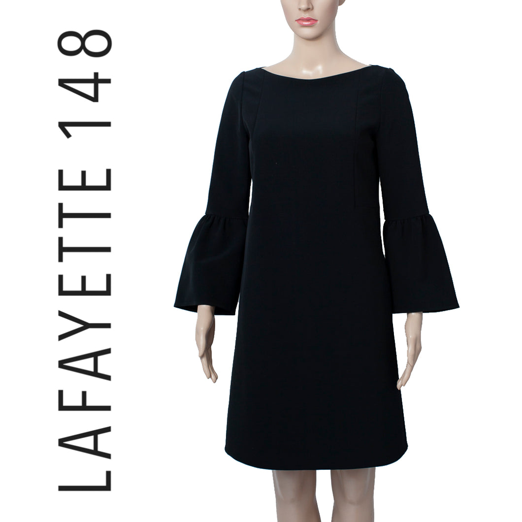 Lafayette 148 Black Marissa Belll Sleeve Dress . Size 2
