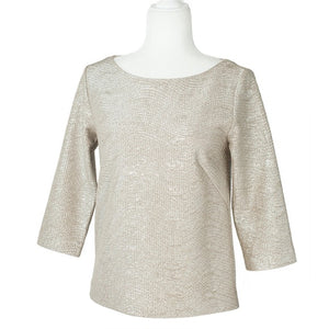 Club Monaco White Cheyenne Metallic Top. Size SP