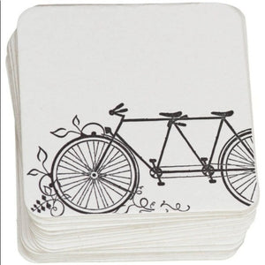 Ruff House Recycled Paper Letterpress Coasters, Tandem Bike Design