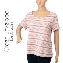 Green Envelope Pink Stripe Short Sleeve Blouse . Size L