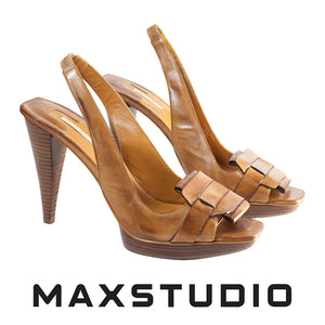 Max Studio Tan Leather Open Toe Shoe . Size 9