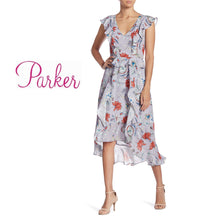 Parker Violet Floral Ruffled Hi-Low Dress . Size M