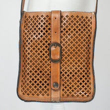 Patricia Nash Lattice Design Tan Leather Crossbody
