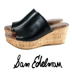 Sam Edelman Black Leather Remington Wedges Size 6.5